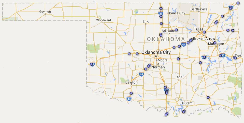 oklahoma rest area map